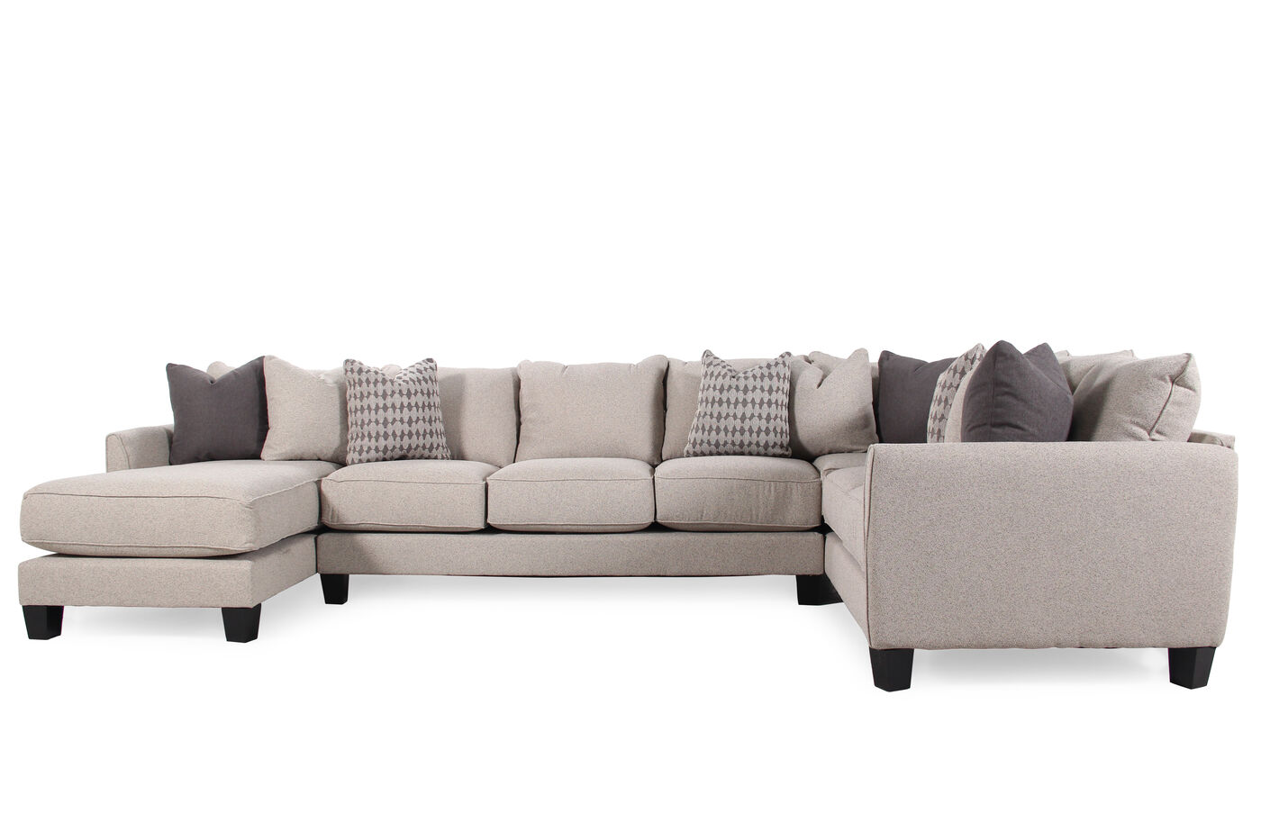 Three Piece Contemporary 159 Quot Sectional In Nutmeg Brown