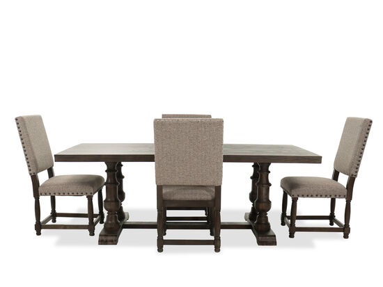 Five-Piece Table and Chair Set in Dark Oak/Brown