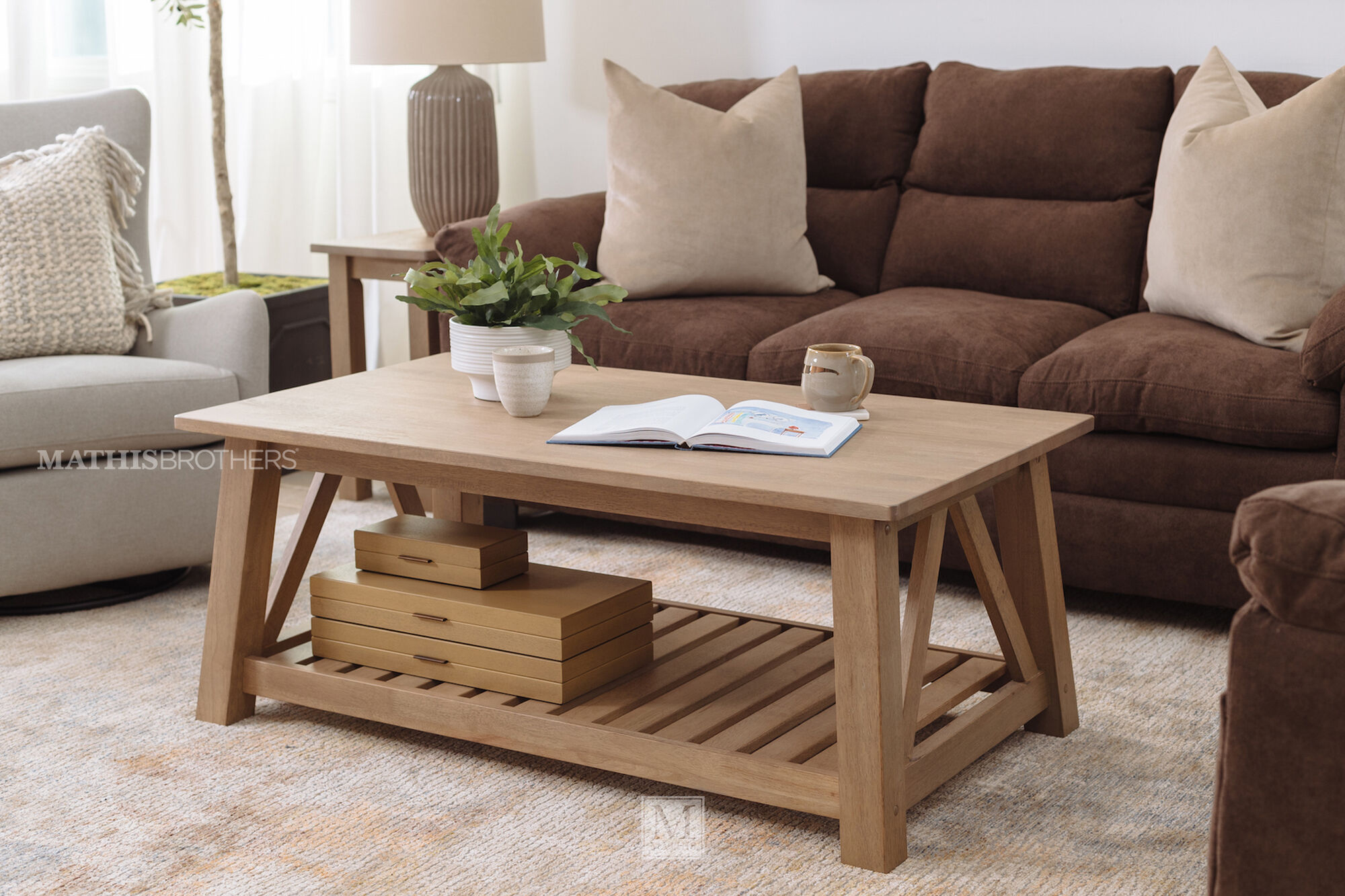 Transitional Coffee Table In Brown Mathis Brothers Furniture