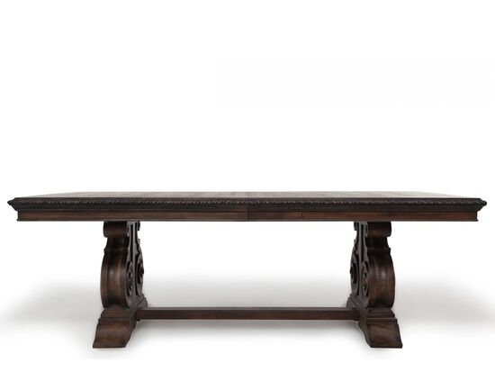 "Transitional 88"" to 128"" Double Pedestal Dining Table in Rustic Walnut"