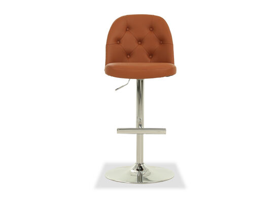 Leather Button Tufted Adjustable Bar Stool in Brown