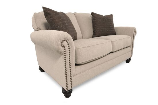 Nailhead Trimmed Casual 67 Loveseat In Gray Mathis Brothers Furniture