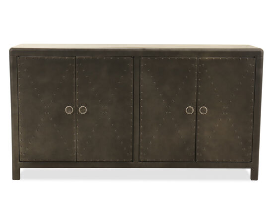 Large Nailhead-Trimmed Accent Cabinet in Gray