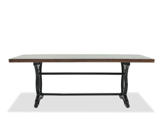 "Casual 84"" Solid Acacia Rectangular Dining Table in Dark Black"