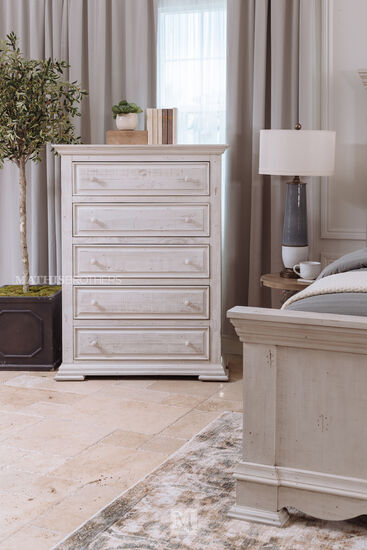"""54"""" Casual Five-Drawer Chest in White"""