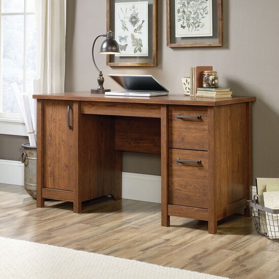 """53"""" Contemporary Two-Drawer Computer Desk in Milled Cherry"""