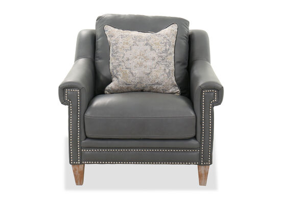 Nailhead-Trimmed Contemporary 39'' Chair in Gray