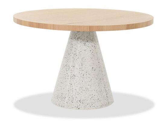 "48"" Mid-Century Modern Round Table in Light Brown/White"