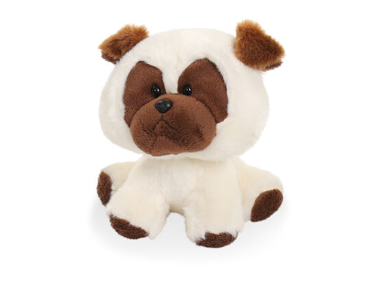 "6"" Wobbly Bobblee Plush Pug Toy in White"