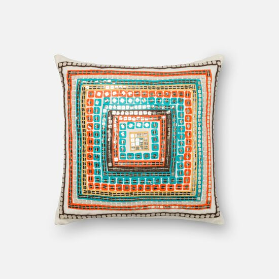 """Contemporary 18""""x18"""" Cover w/poly pillow in Blue/Rust"""