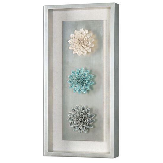 Framed Ceramic Flower Wall Art in Silver Leaf