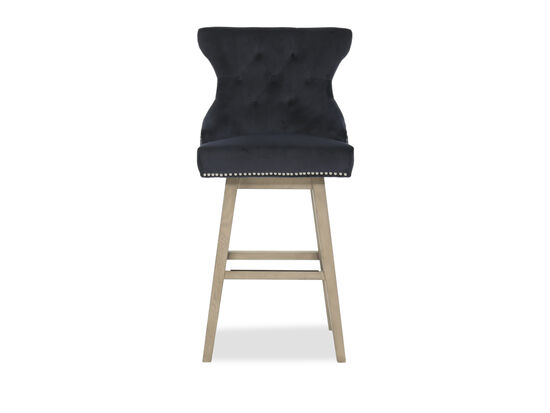 """Contemporary 44"""" Button Tufted Bar Stool in Blue"""