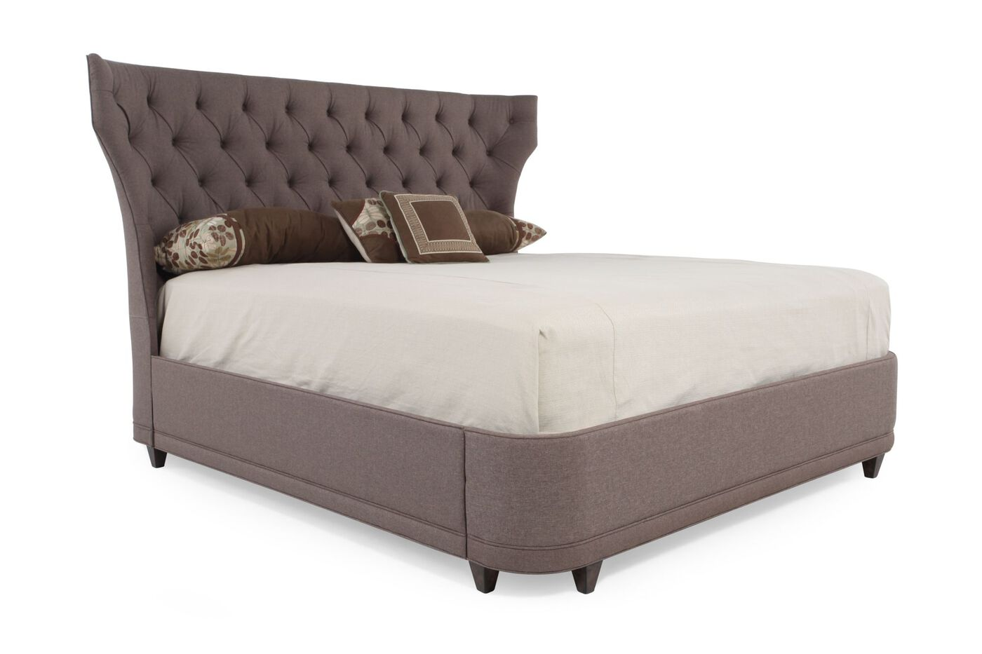 """Wayfair Tufted Headboard Bedding Bedroom Transitional With: 60.5"""" Transitional Button Tufted Platform Bed In Nutmeg"""