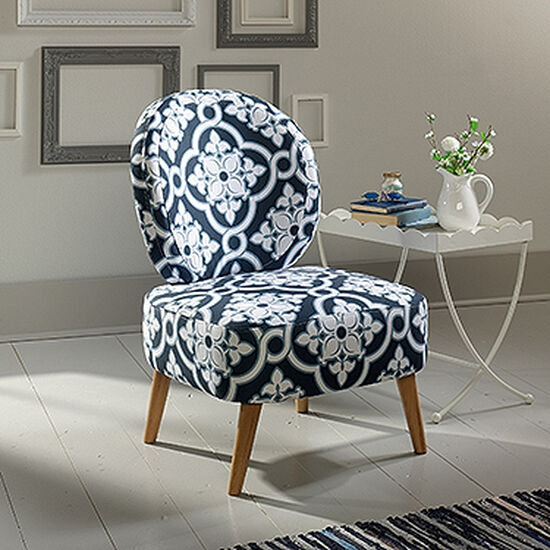 "Contemporary Arabesque-Patterned 24"" Accent Chair in White"