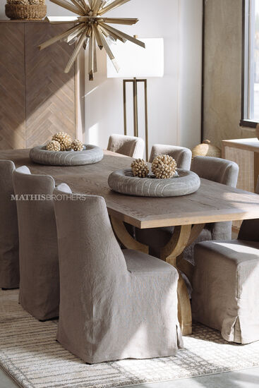 Contemporary Slipcover Side Chair in Beige