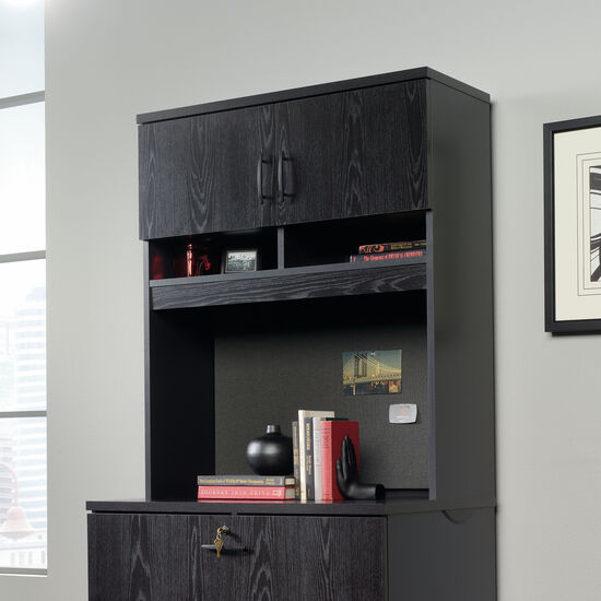 "36.5"" Casual Two-Door Lateral File Hutch in Bourbon Oak"