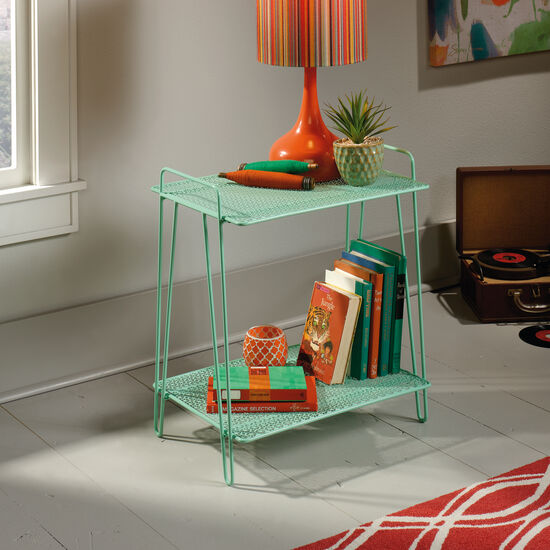 Perforated Shelves Contemporary Accent Table in Green