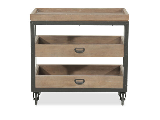 "29.5"" Contemporary Castered Accent Nightstand in Light Oak"