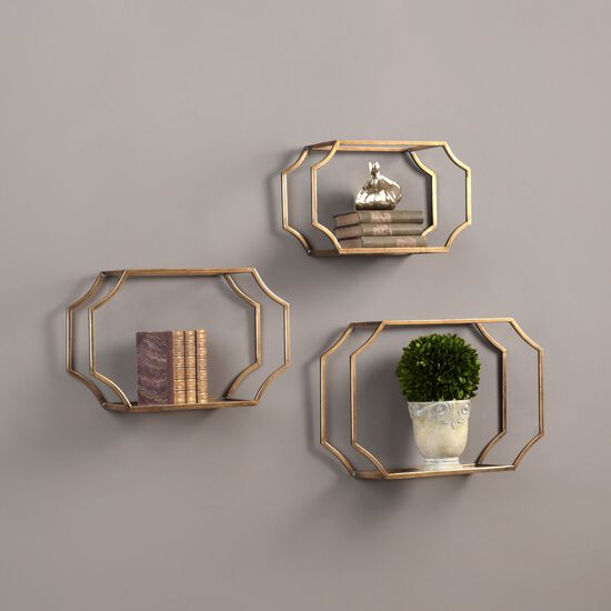 Three-Piece Iron Open Wall Shelves in Gold Leaf