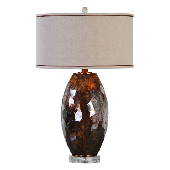 Cut Mercury Glass Table Lamp in Rust Bronze