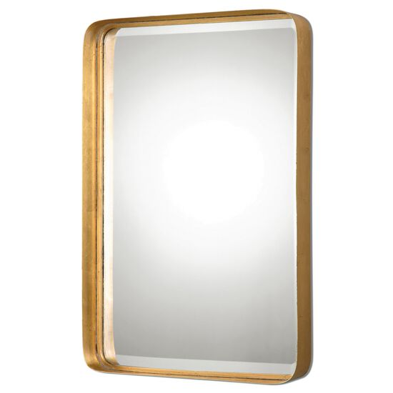 "30"" Curved Beveled Mirror in Antique Gold Leaf"