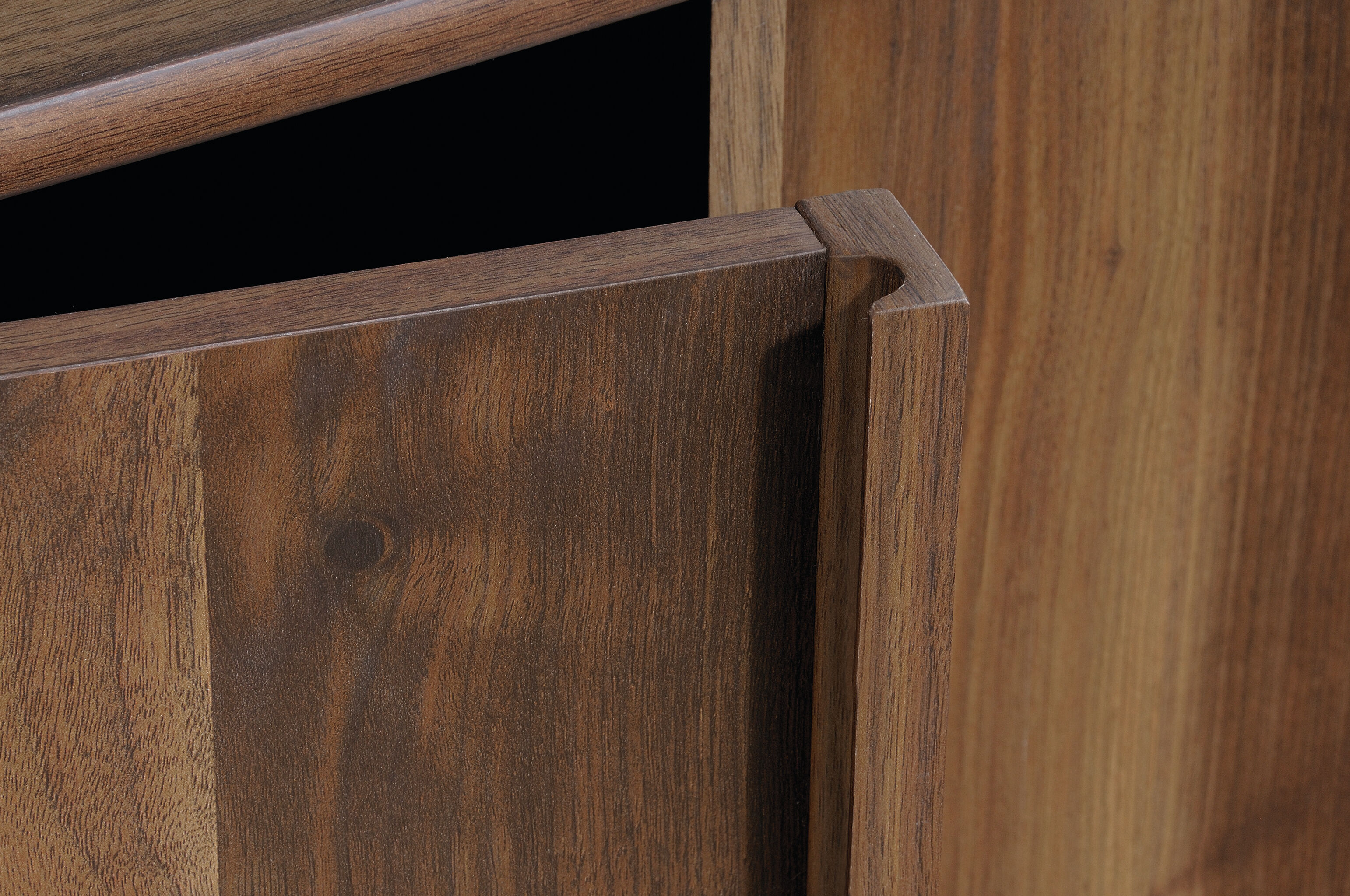 Credenza Dark Wood : Casual flip up drawer entertainment credenza in dark wood mathis