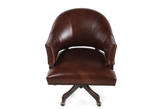 Padded Leather Swivel Tilt Office Chair in Dark Brown