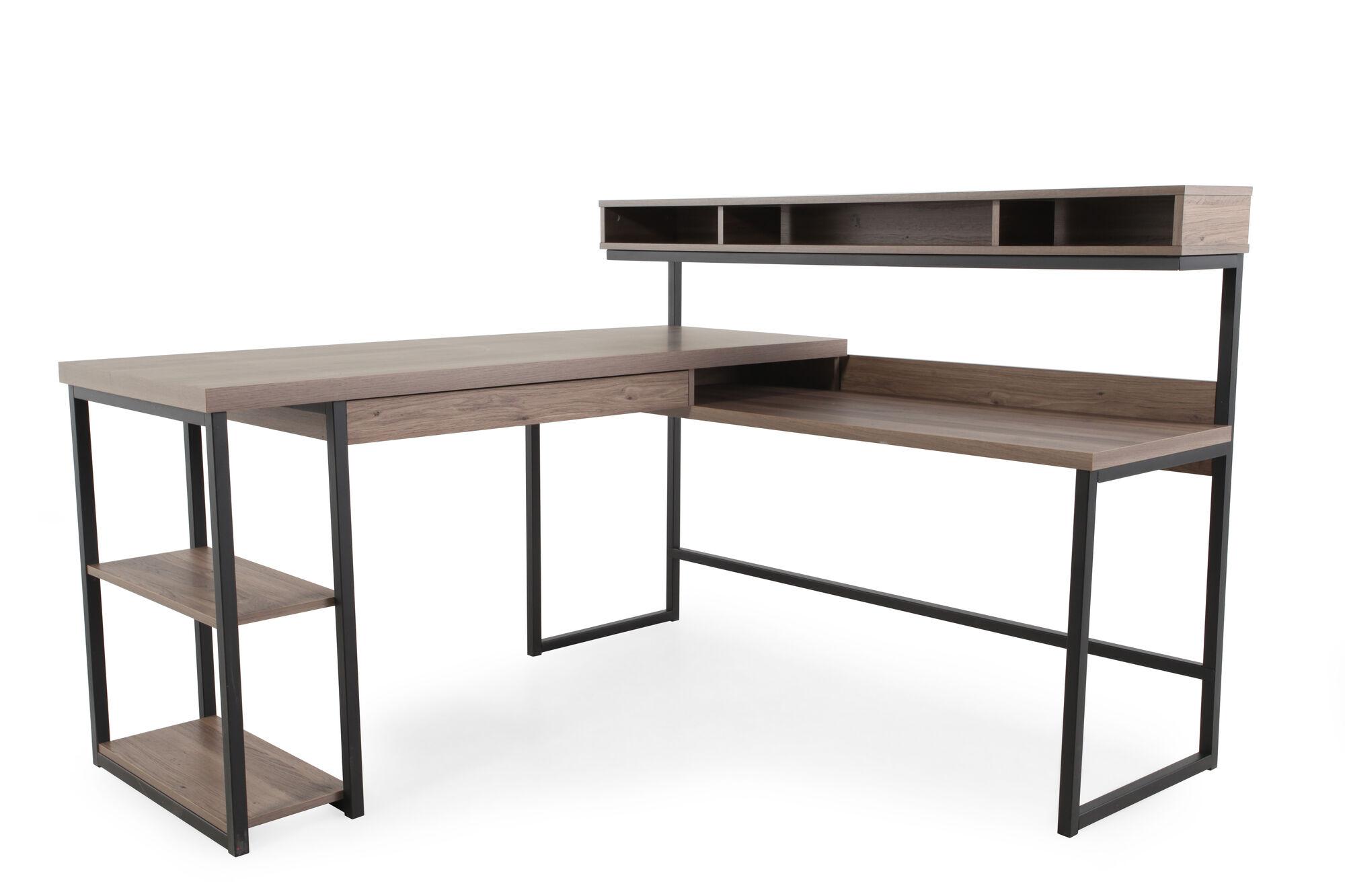 "Home Office Furniture At Wooden Furniture Store: 61"" Casual L-Shaped Desk In Salt Oak"