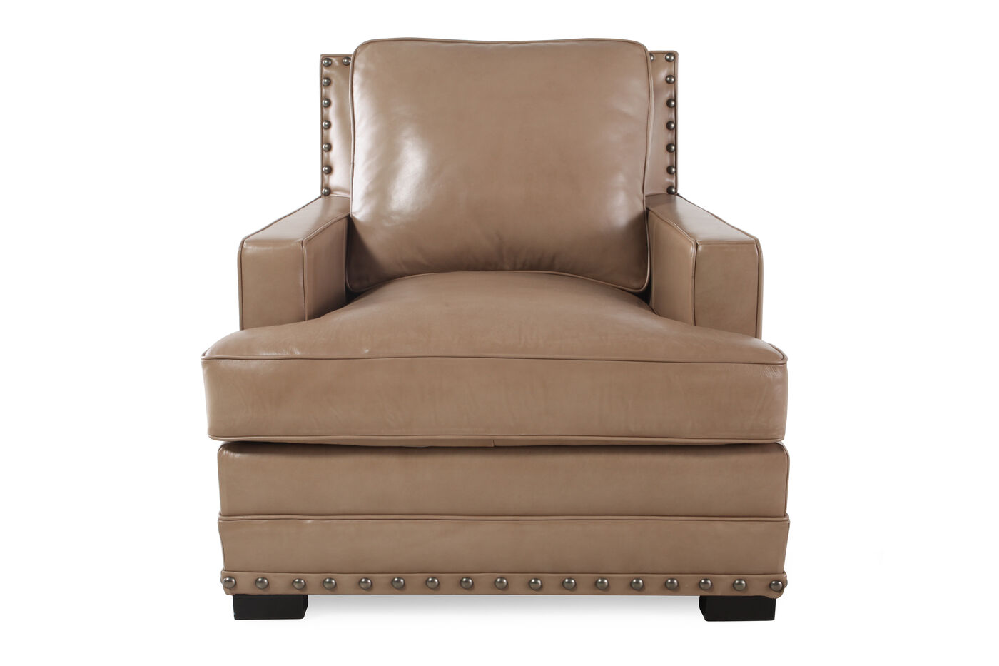 Ranch house leather 35 chair in saddle brown mathis for Furniture 35