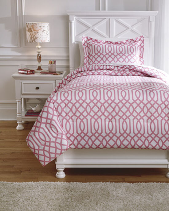 Two-Piece Trellis-Print Twin Comforter Set in Pink