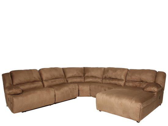 """Microfiber 47"""" Reclining Sectional in Warm Earth"""