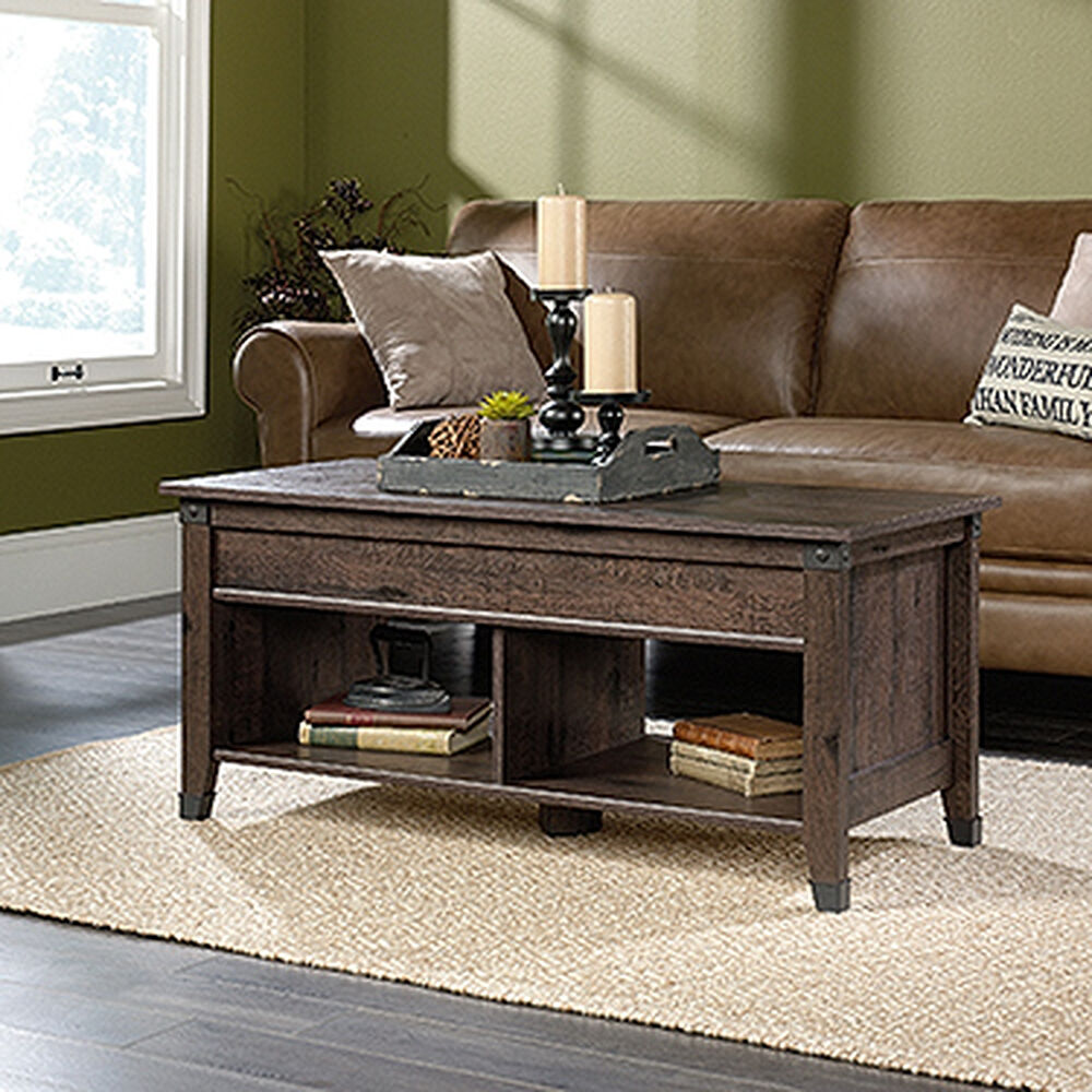 Rectangular Lift Top Contemporary Coffee Table In Coffee Oak