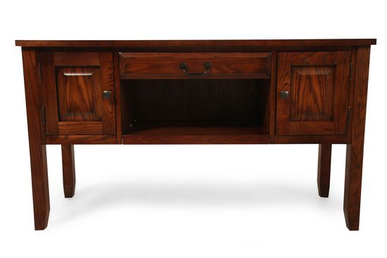 Two-Door Traditional Sofa Table in Weathered Oak