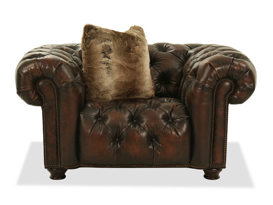 "Nailhead-Accented Contemporary 57.5"" Leather Chair & a Half in Brown"