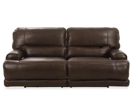 Leather Power Reclining Headrest Sofa in Walnut