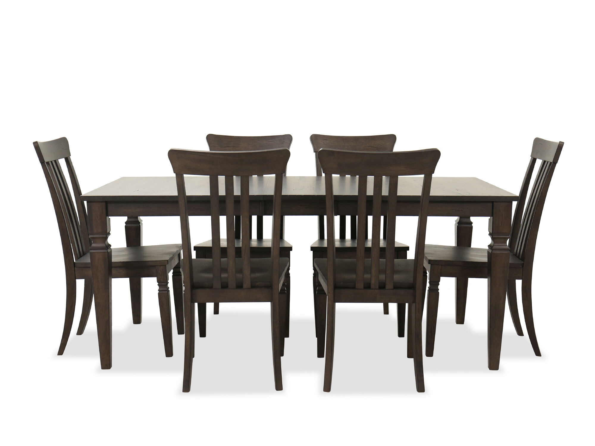 Seven Piece Solid Wood Dining Room Set In Dark Walnut Mathis Brothers Furniture