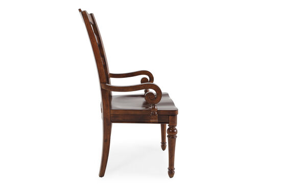 Two-Piece Ladder Back 43'' Arm Chair Set in Roasted Chestnut