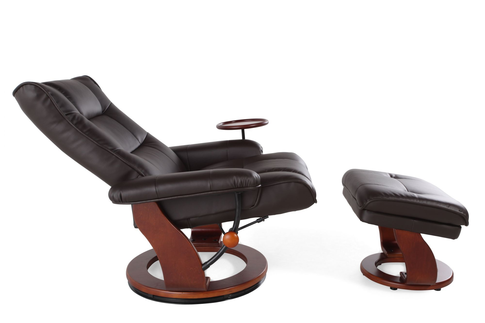 Contemporary 34u0026quot; Swivel Reclining Chair And Ottoman ...