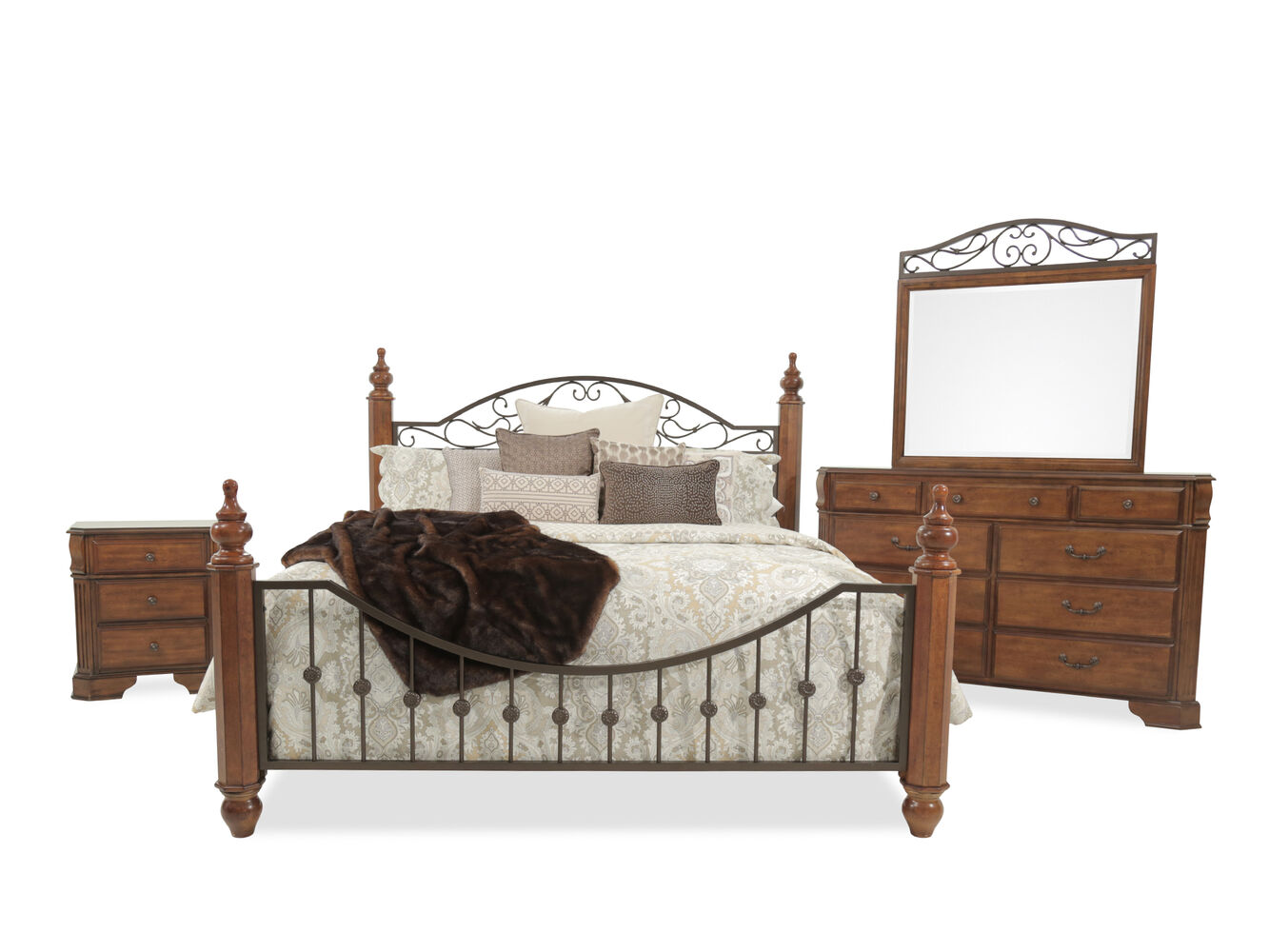 Four piece country bedroom set in cherry mathis brothers for Country bedroom furniture