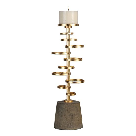 Staggered Rings Candle Holderin Antique Gold Leaf