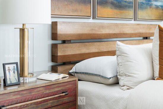 Mid-Century Modern Planked Storage Bed in Brown
