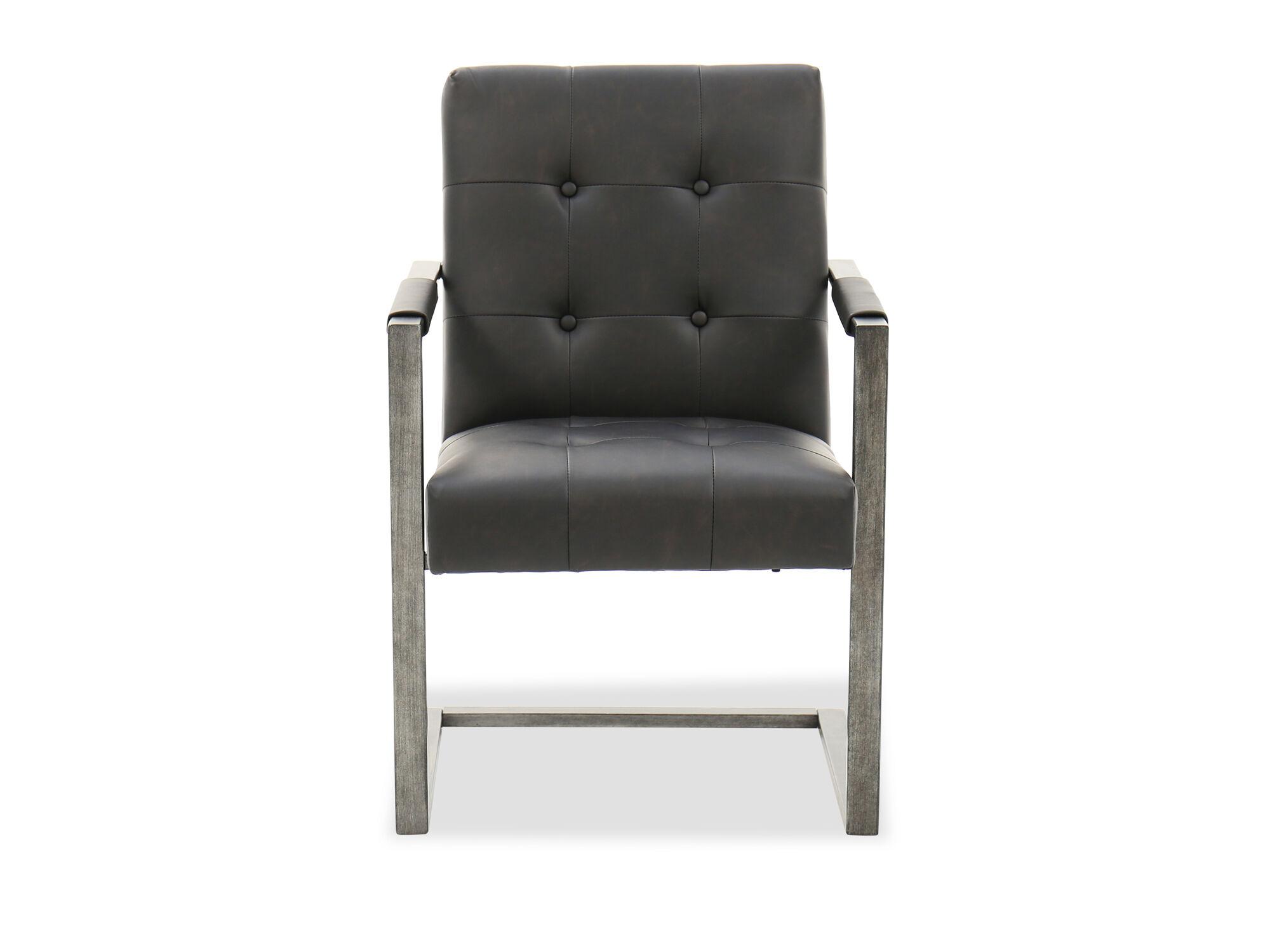 Button Tufted Desk Chair In Blackened Gunmetal Mathis Brothers