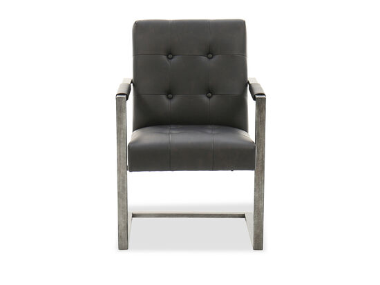 Button-Tufted Desk Chair in Blackened Gunmetal