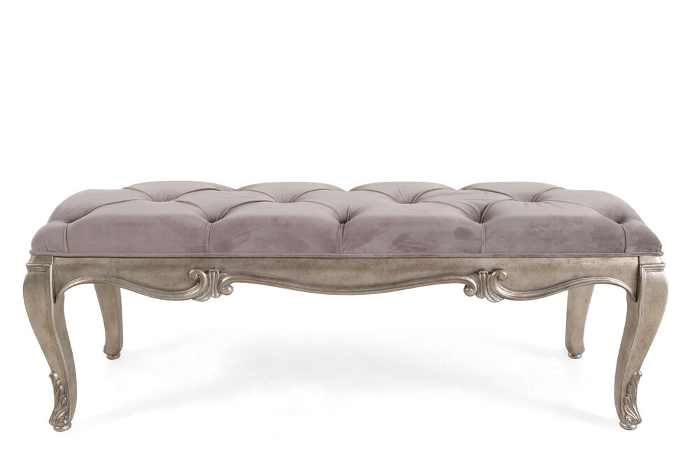 """Button-Tufted Microfiber 52"""" Bed Bench in Gray"""