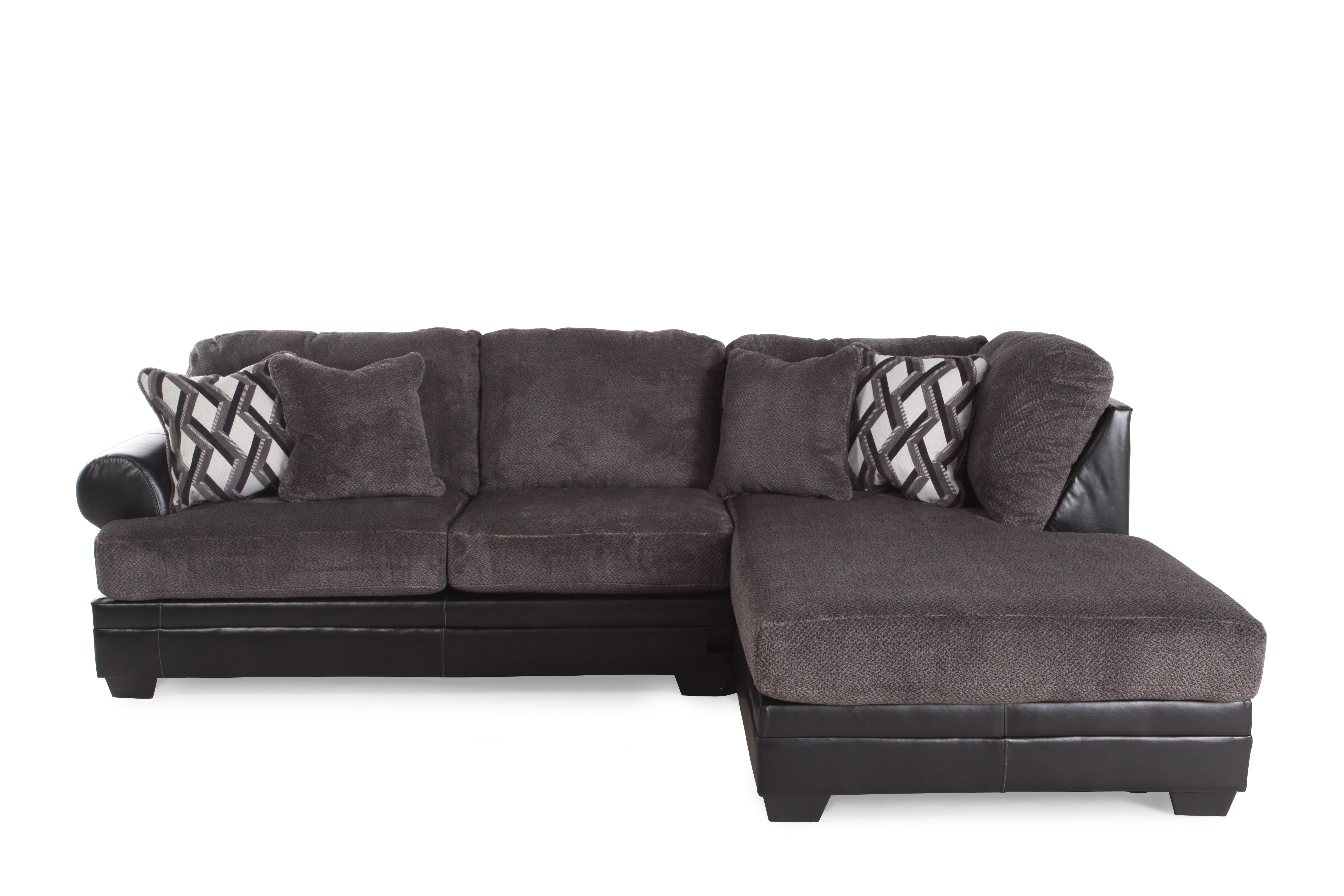 Two Piece Microfiber 123u0026quot; Sectional In Gray