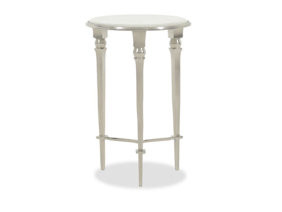 Three-Legged Aluminum Accent Table in Silver