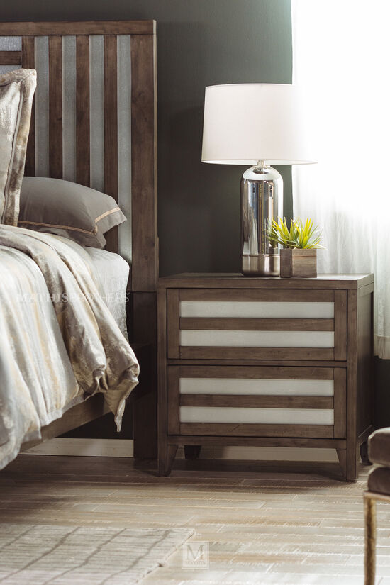 Traditional Two-Drawer Nightstand in Dark Brown