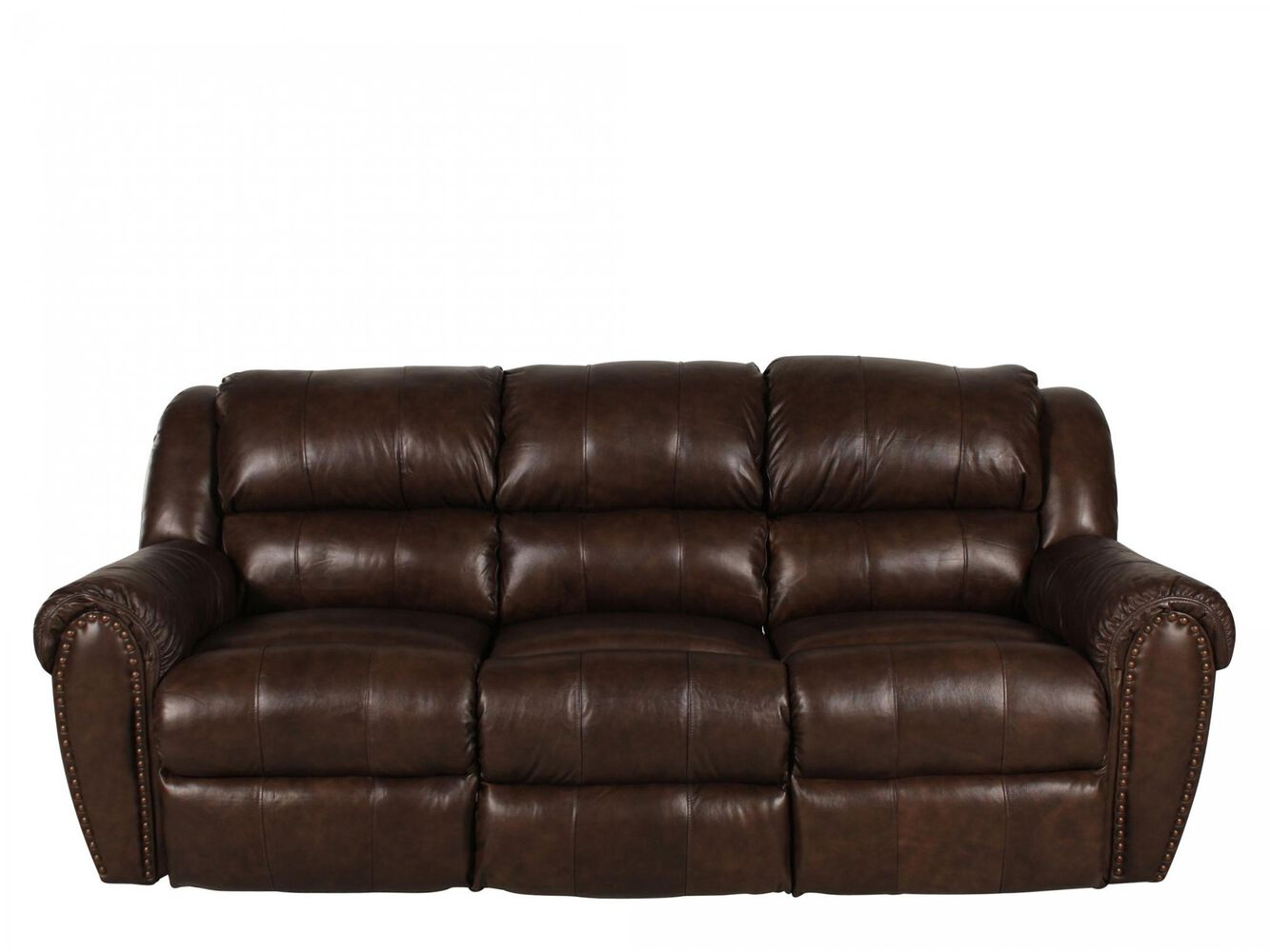 Traditional nailhead accented 89 reclining sofa in brown for Traditional sofa