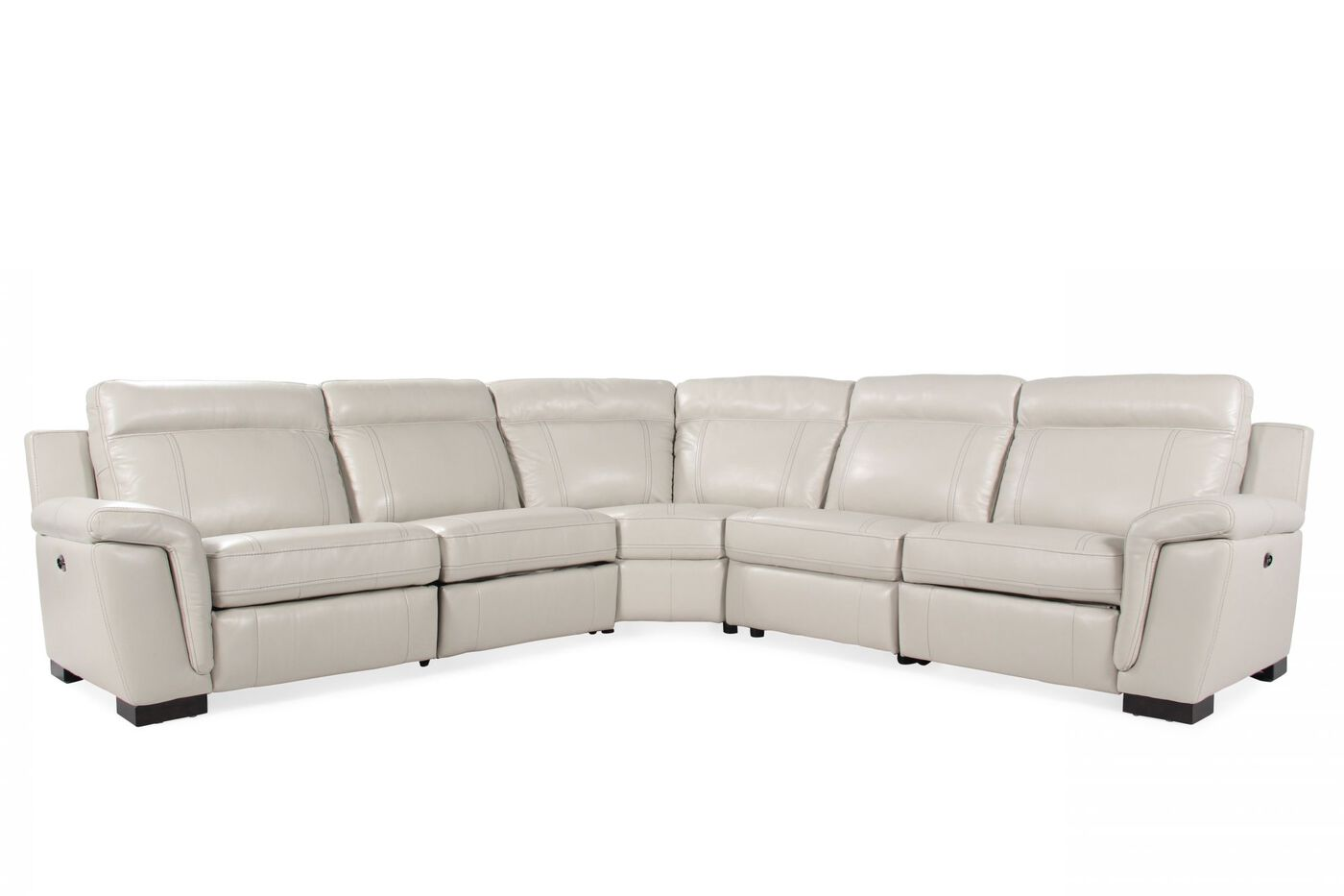Five-Piece Contemporary Power Reclining Sectional in White | Mathis ...
