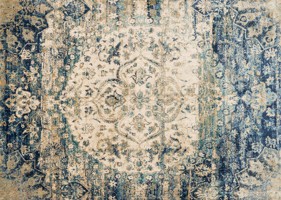 "Loloi Power Loomed 5'3"" x 7'8"" Rug in Blue/Ivory"